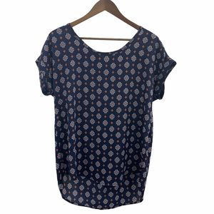 Pleione Blue Pleated Floral Tunic Top Size S